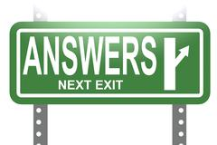 Answer green sign board isolated - stock illustration