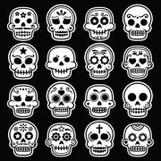Halloween, Mexican sugar skull, Dia de los Muertos white icons on black - stock illustration