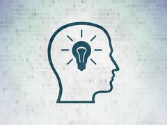 Stock Illustration of Studying concept: Head With Lightbulb on Digital Paper background