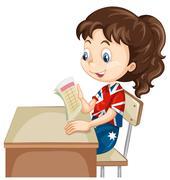 Girl reading document on the desk - stock illustration