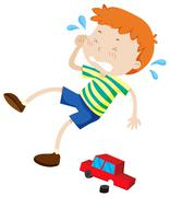Boy crying because of broken toy - stock illustration