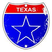 Texas Lone Star Interstate Sign - stock illustration