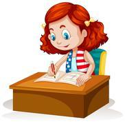 Little girl writing on the table Stock Illustration