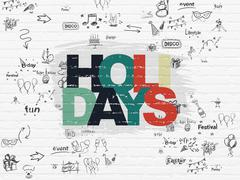 Stock Illustration of Holiday concept: Holidays on wall background