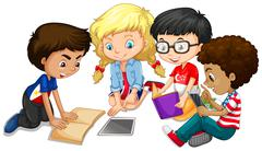 Group of children doing homework - stock illustration