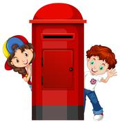 Boy and girl behind the post box Piirros