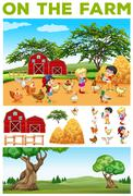 Children and animals on the farm Stock Illustration