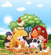 Children and farm animals Stock Illustration