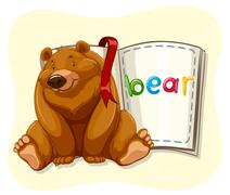 Grizzly bear and a book - stock illustration