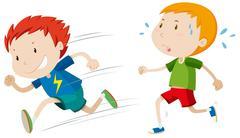 Fast runner and slow runner Piirros