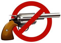 Gun control sign with shotgun Stock Illustration