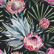 Raster tropical protea pattern - stock illustration