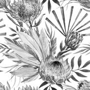 Stock Illustration of Raster tropical protea pattern