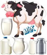 Dairy products with cow and fresh milk - stock illustration