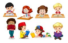 Boy and girl reading and writing - stock illustration