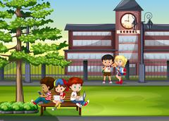 Children hanging out at school Stock Illustration