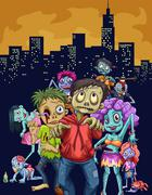 Zombies walking in the city - stock illustration