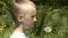 Boy blowing dandelion seeds - stock footage