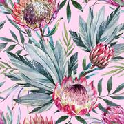 Raster tropical protea pattern - stock illustration