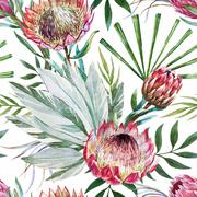 Stock Illustration of Vector tropical protea pattern