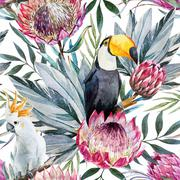 Vector tropical protea pattern Stock Illustration