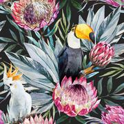 Vector tropical protea pattern - stock illustration