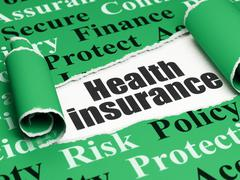 Insurance concept: black text Health Insurance under the piece of  torn paper - stock illustration