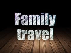 Vacation concept: Family Travel in grunge dark room Stock Illustration