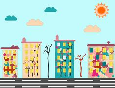 Panorama of city with colored condominium with pictures - stock illustration
