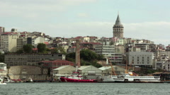 View of Galata Tower from Golden Horn,Istanbul Stock Footage