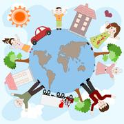 Happy European family on a peaceful planet, the concept of love and family va - stock illustration
