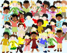 Group of happy children of different nationalities in colorful clothes in a f - stock illustration