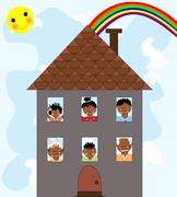 The African family in a new house on the background of sky and rainbow Stock Illustration