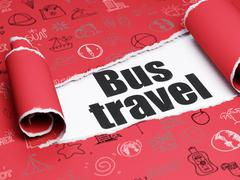 Travel concept: black text Bus Travel under the piece of  torn paper Stock Illustration