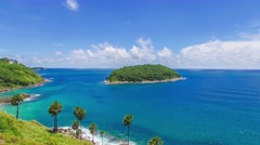 Flying over the sea and the beautiful coastline and the island, Thailand Stock Footage