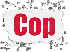 Law concept: Cop on Torn Paper background - stock illustration