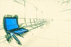 Airport waiting area - stock illustration
