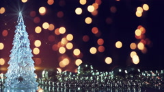 Christmas tree and blinking lights seamless loop Stock Footage