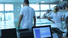 Judge table controll Swimming Pool Race track  Stock Footage