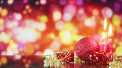 Christmas decorations and glowing bokeh seamless loop Stock Footage