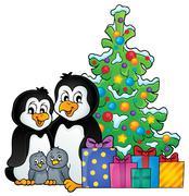 Penguin family Christmas theme - eps10 vector illustration. Stock Illustration