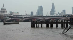 London river skyline with Blackfriars Bridge and St Pauls - stock footage