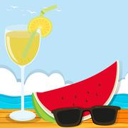 Summer theme with cocktail and watermelon Stock Illustration