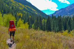 Stock Photo of Hiker Backpacker Colorado Fall