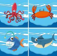 Ocean scene with sea animals underwater Piirros