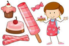 Baker and different kind of dessert Stock Illustration