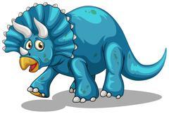 Blue dinosaur with horns Stock Illustration