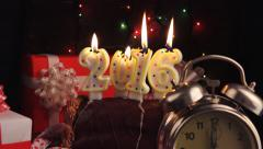 Stock Video Footage of Happy New 2016 Year, romantic candle light and vintage clock