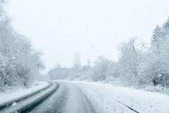 Winter Background - Snowy Road Stock Photos