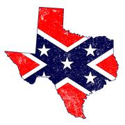 Confederate Flag Over Texas Map - stock illustration